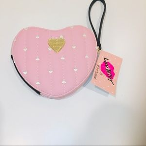 Betsey Johnson baby pink heart wristlet wallet